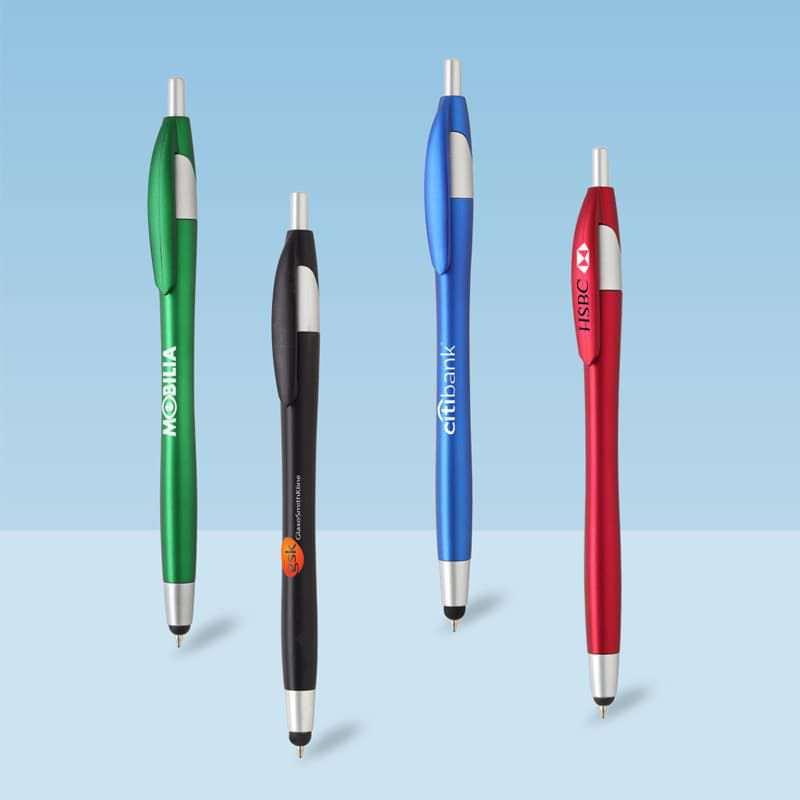 Wholesale custom  Push action ballpen Touch Pen 2