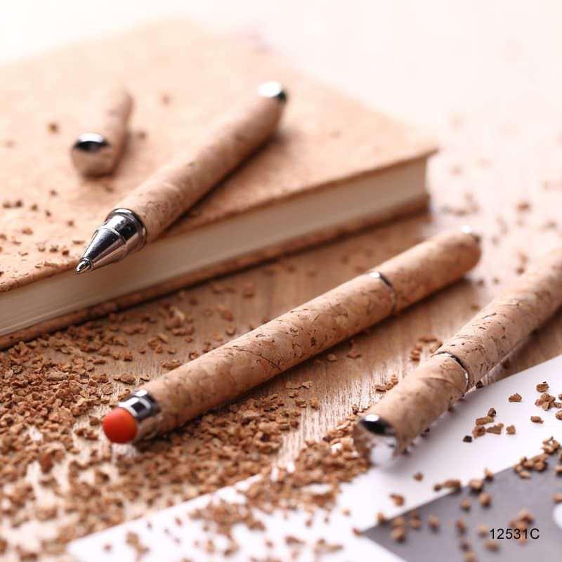 Wholesale custom  ECO touch pen with CORK barrel Cork 2