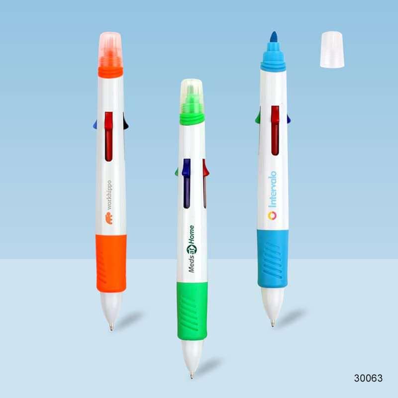 Wholesale custom  Multicolor ballpen with highlighter Highlighter 2