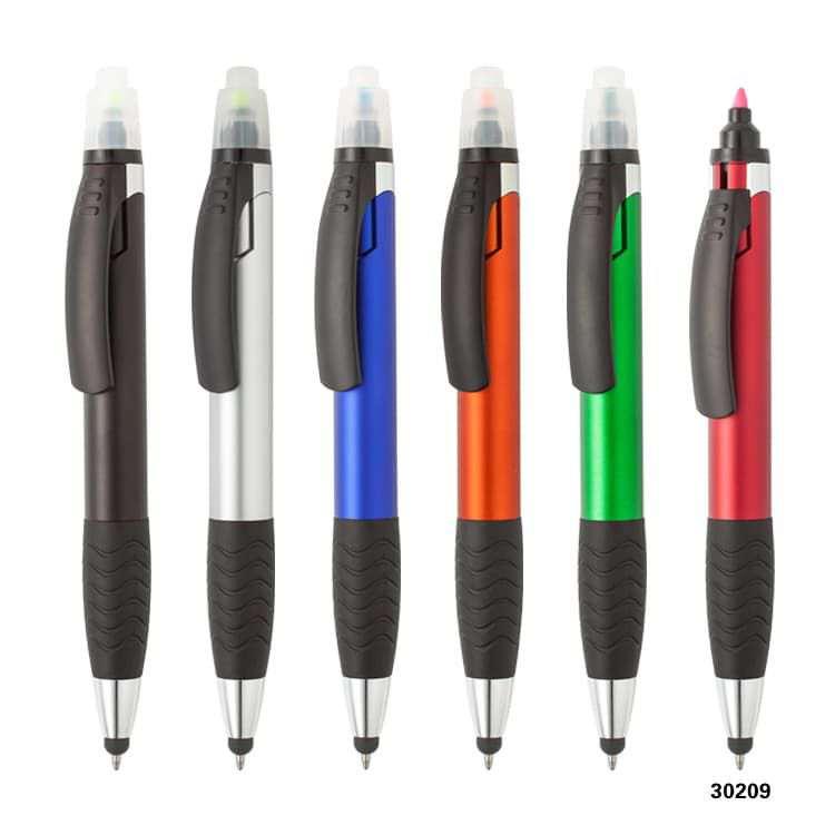 Wholesale custom  2 in 1 stylus ballpen with highlighter Highlighter