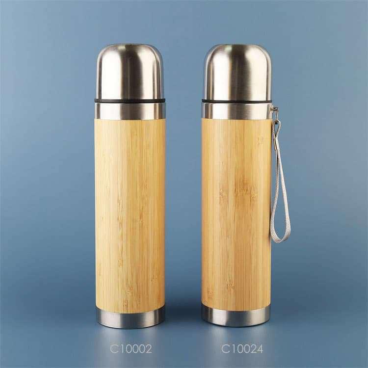 Wholesale custom  430ML Vacuum insulated bamboo flask Green Choice 2