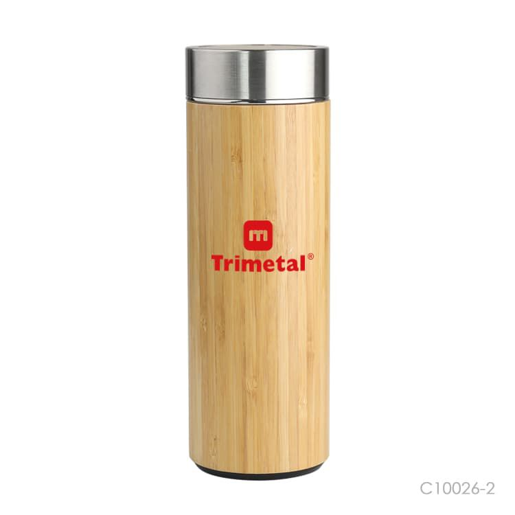 Wholesale custom  400ml Bamboo Thermos Cup Green Choice