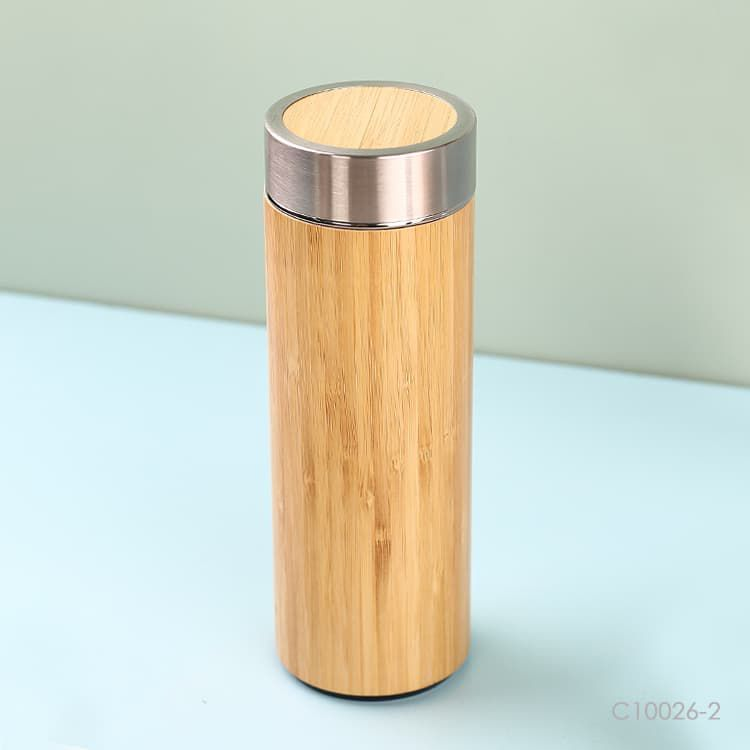 Wholesale custom  400ml Bamboo Thermos Cup Green Choice 2