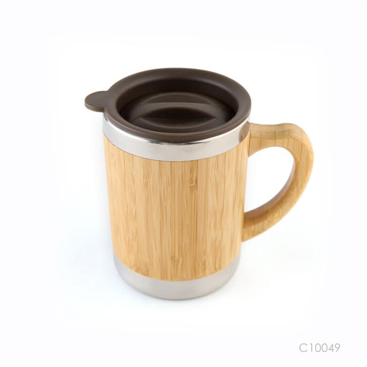 Wholesale custom  300ML Insulated bamboo mug Green Choice 2