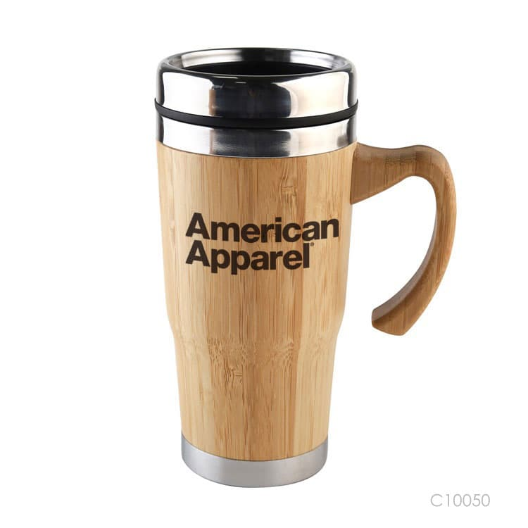 Wholesale custom  400ML Double layer vacuum bamboo cup. Green Choice 5