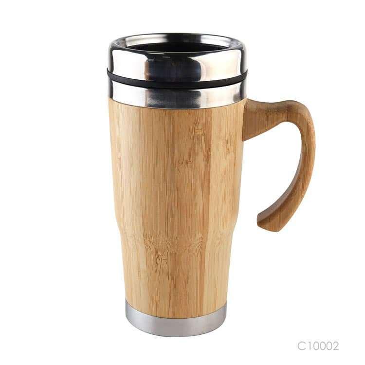Wholesale custom  450ML Insulated bamboo cup Green Choice 2