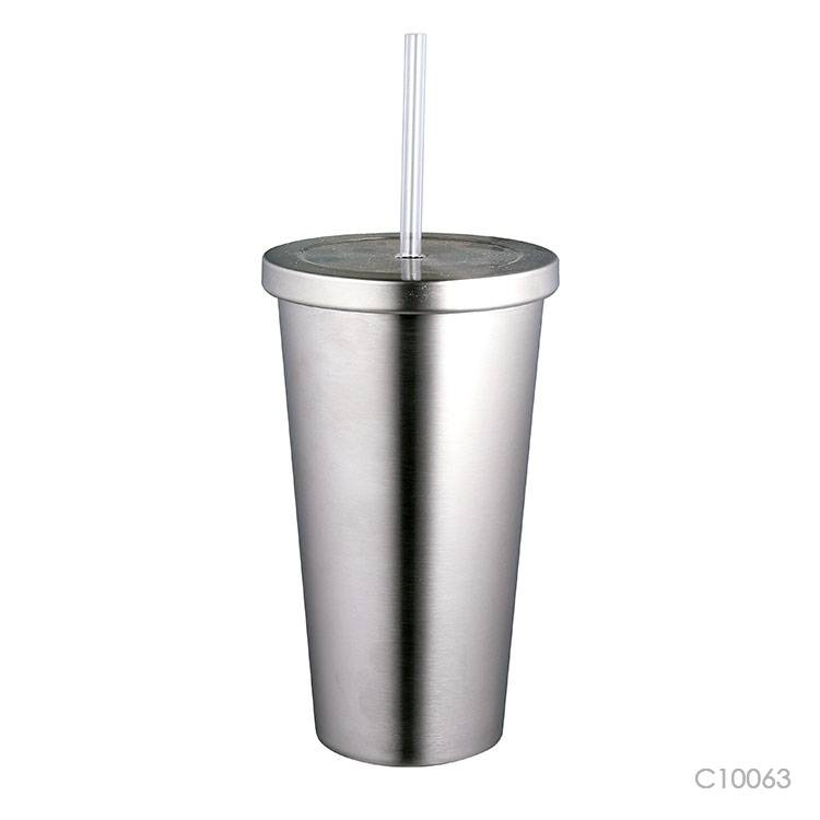 Wholesale custom  670ML Double-walled SS travel tumbler with straw Mugs & Tumblers 2