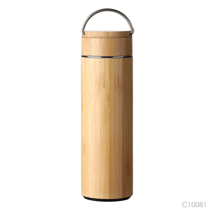Wholesale custom  400ML Double layer vacuum bamboo cup. Green Choice 3