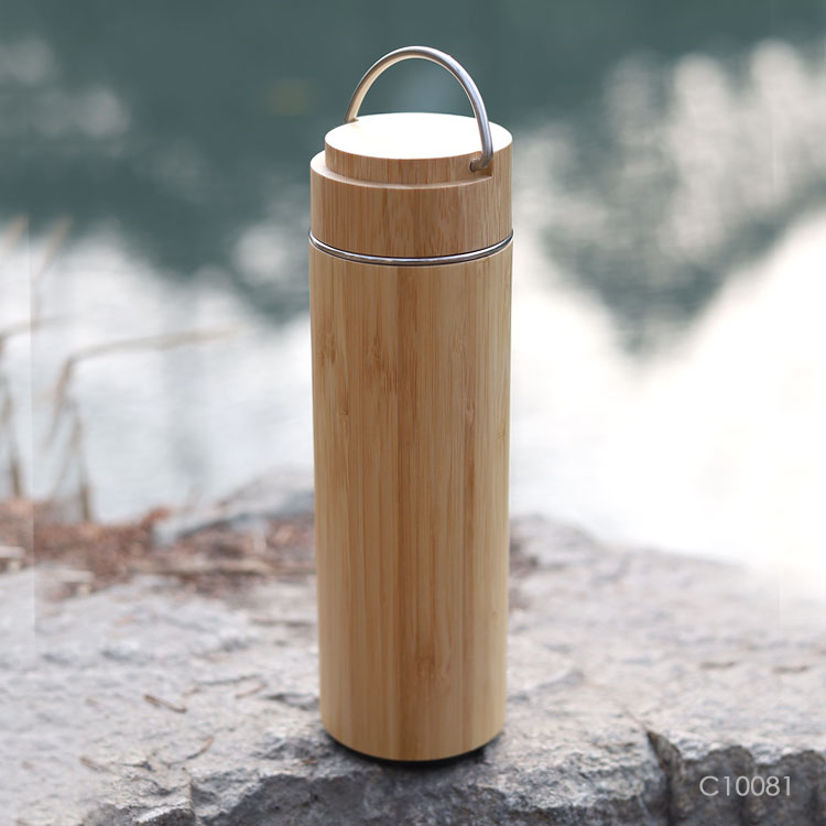 Wholesale custom  400ML Double layer vacuum bamboo cup. Green Choice 4