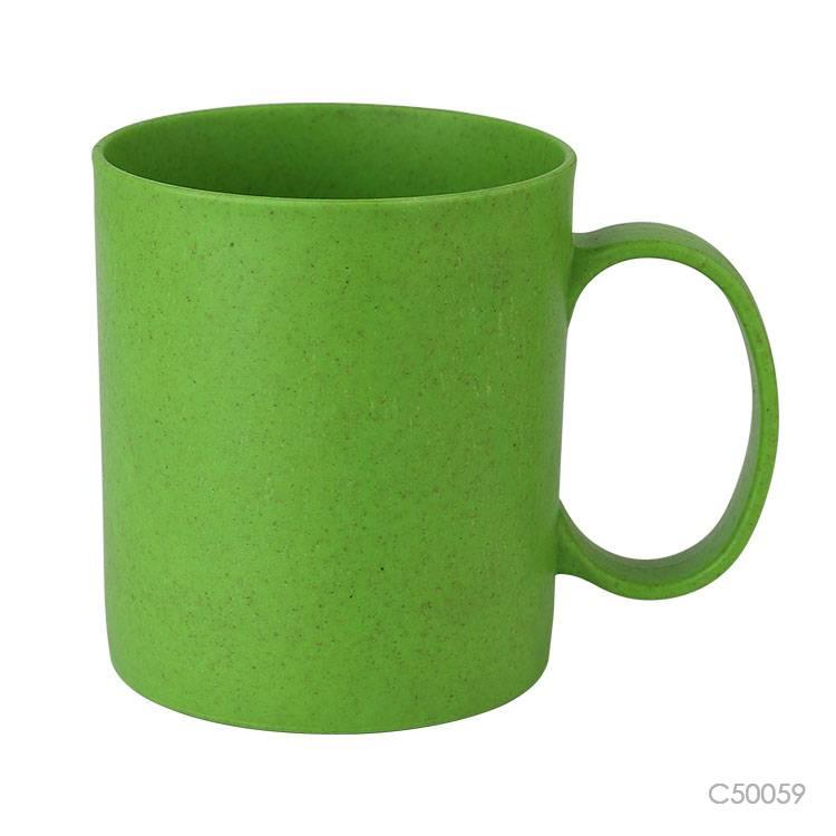 Wholesale custom  320ML Bamboo fiber &PP mug Green Choice 3