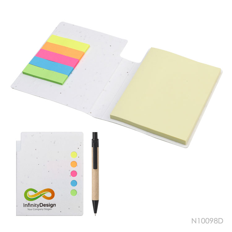 Wholesale custom  Growing Paper Cover Sticky Notepad with Pen Notepads