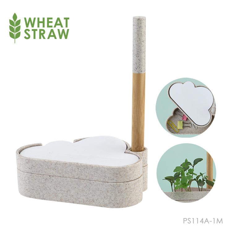 Wholesale custom  Wheat Straw Material Cloud Shape Growing Paper Notepad Set Wheat Straw