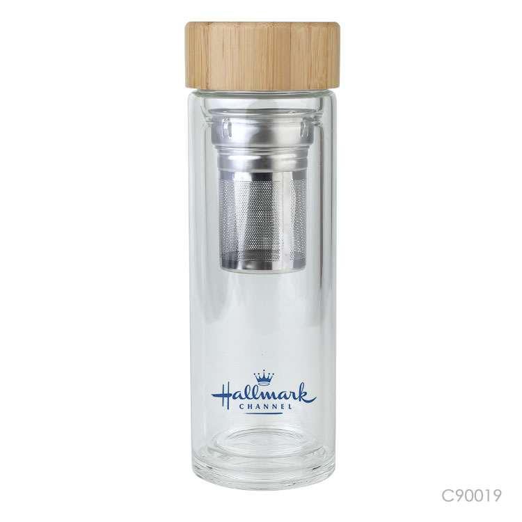 Wholesale custom  420ML Glass bottle with bamboo lid Drinkware