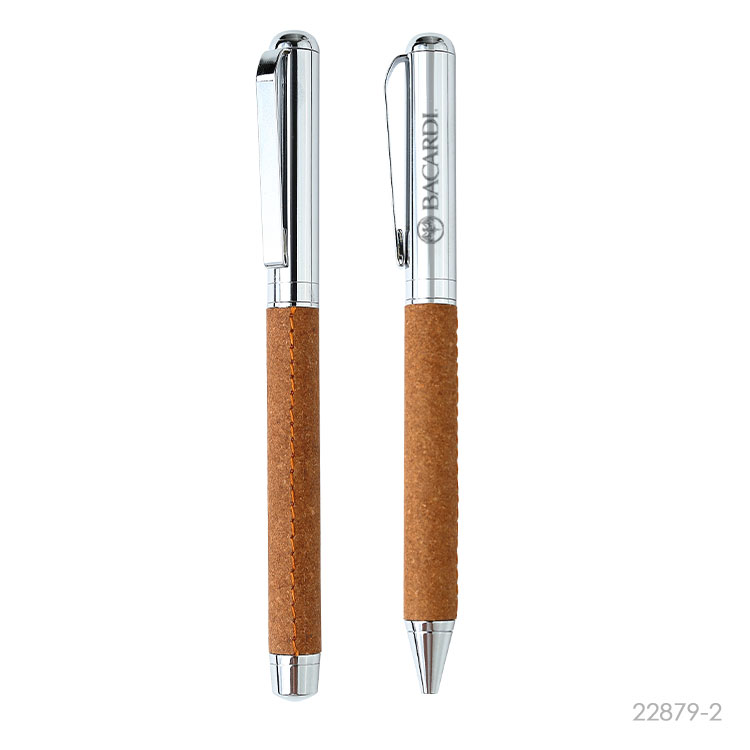 Wholesale custom  Recycled Leather Metal Ballpen& Roller pen Green Choice