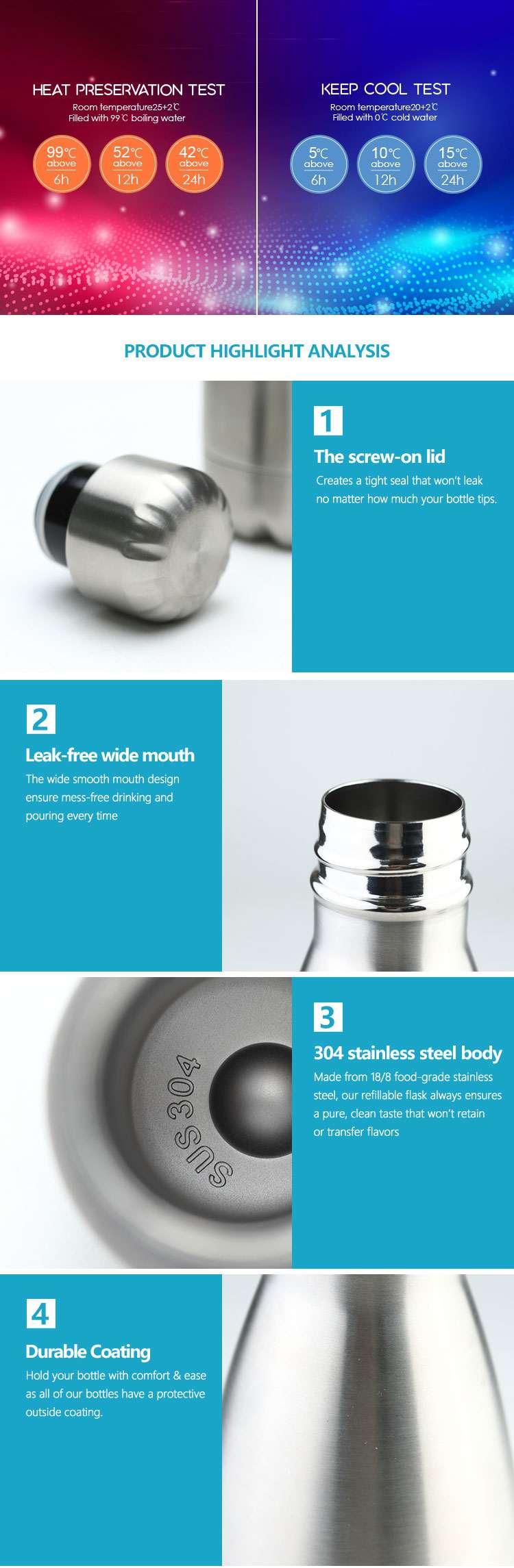 Wholesale custom  260ML Double-walled vaccum bottle Water Bottles 55