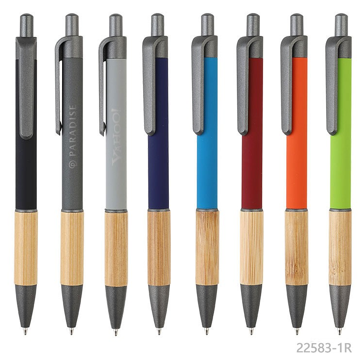 Wholesale custom  Aluminium with bamboo grip pen Bamboo