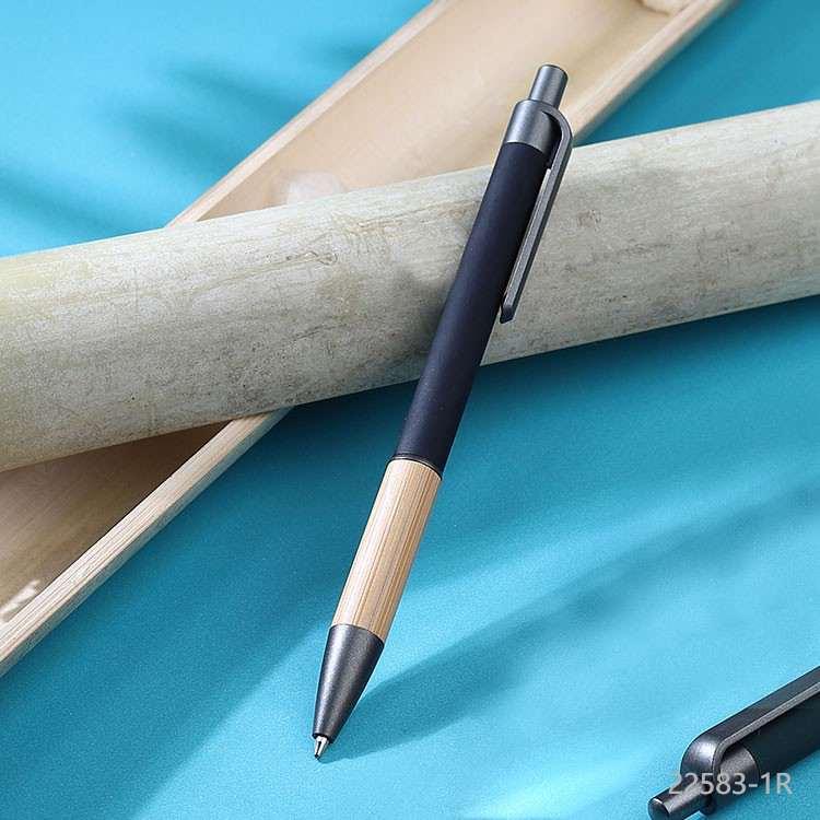 Wholesale custom  Aluminium with bamboo grip pen Bamboo 2