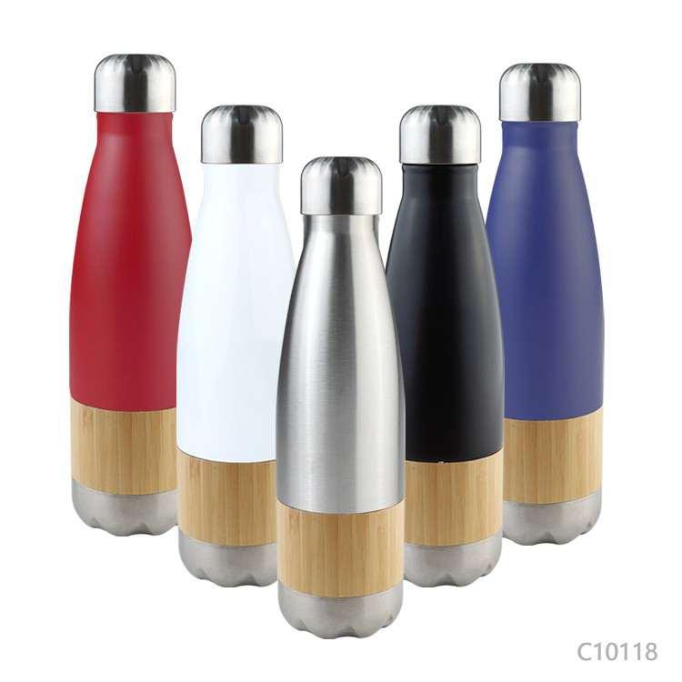 Wholesale custom  500ML Double wall stainless steel bottle Bamboo 2